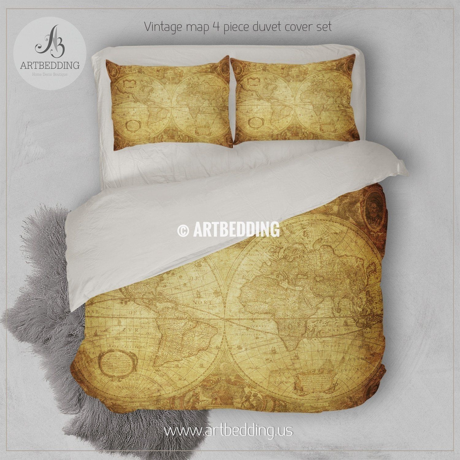 Twin Size Vintage World Map Bedding Vintage Old Map Duvet Cover Antique Map Queen King Full Bedding Set Vintage Steampunk Map Duvet Cover Set Full Bedding Sets Duvet Cover