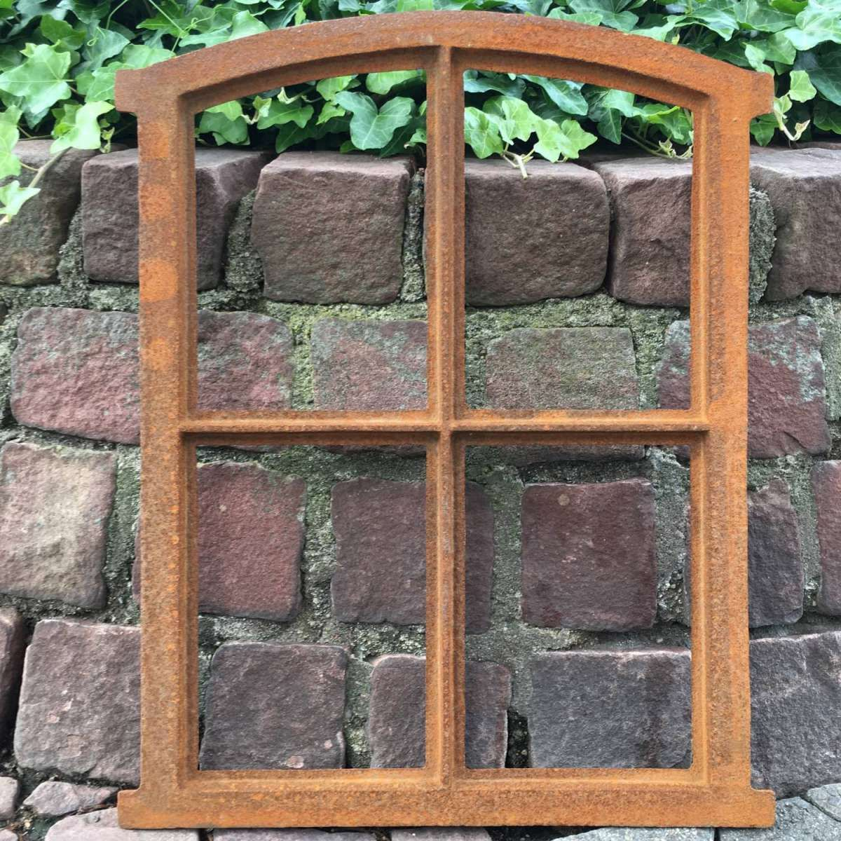 Nostalgie Stallfenster 23x39cm Bogen Fenster Eisen Gusseisen antik Stil Rost