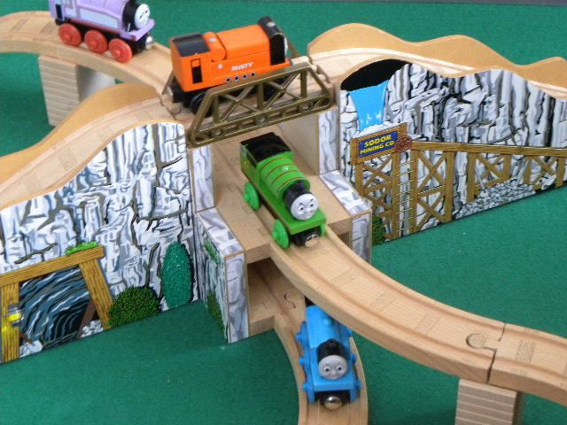 3 Tier Huge Sodor Mining Mountain Tunnel For Thomas Friends Wooden