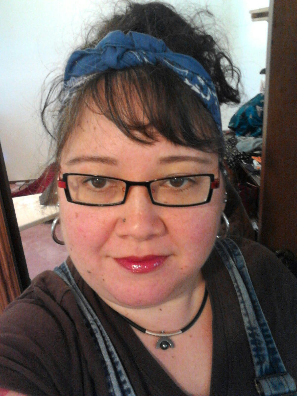 Camping Cute Bandana Messy Updo Filled In Eyebrows Penciled