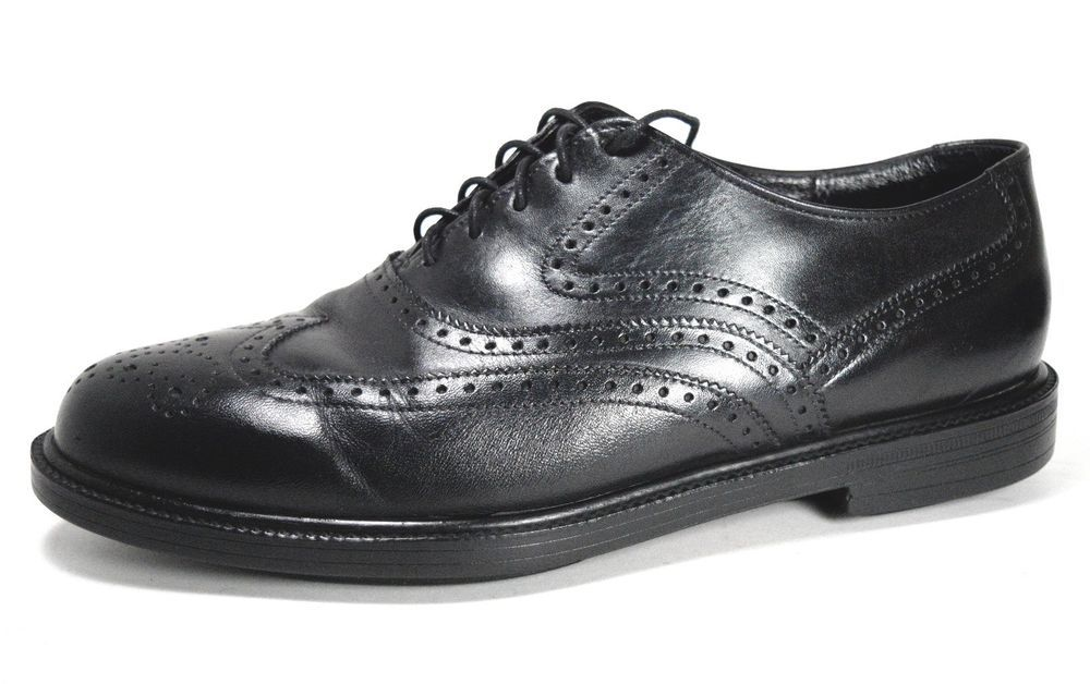Hush Puppies Men S Black Wingtip Oxfords Size 7 5 M Leather Lace Up Career Shoes Hushpuppies Oxfords Formal Leather And Lace Dress Shoes Men Wingtip Oxford