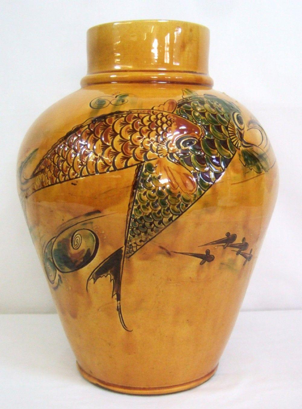 C.H Branham for Liberty's Large Antique Vase Carp Fish