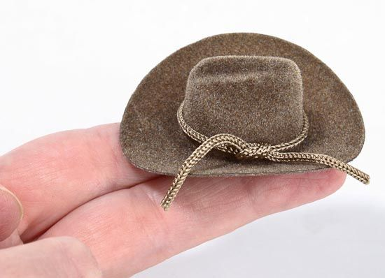 Miniature brown flocked cowboy hat miniature the o 39 jays for Tiny cowboy hats for crafts