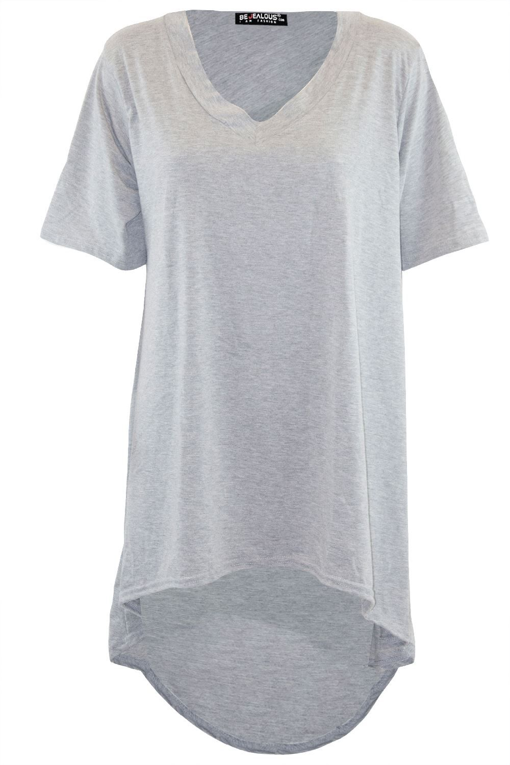 New Ladies Oversized Dipped Hem High Low Baggy Tops 8-26