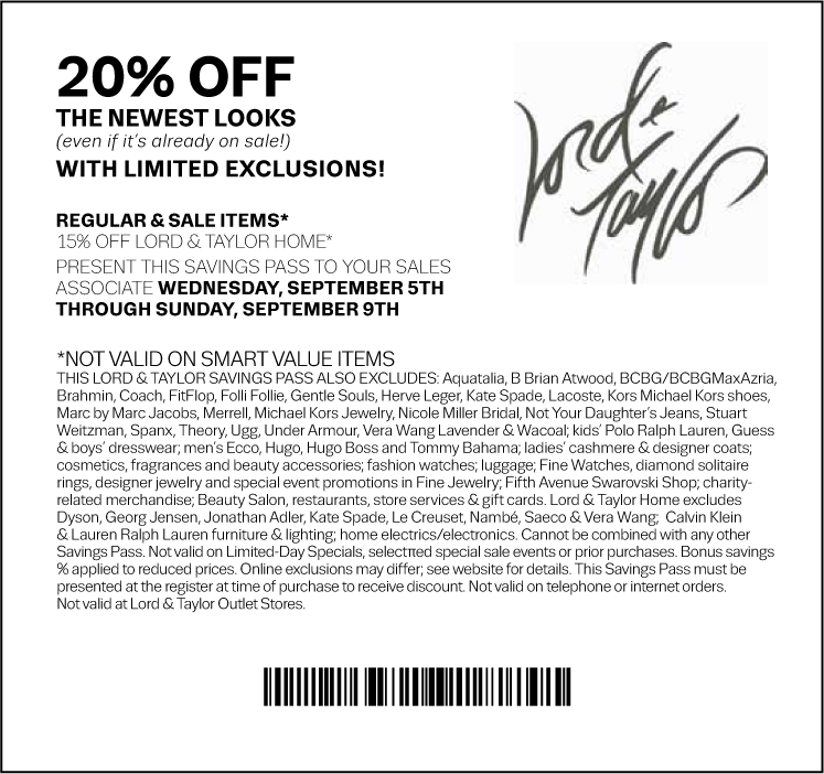 picture relating to Lord and Taylor Printable Coupon identified as 20% off at Lord Taylor, or on the net by checkout promo By now