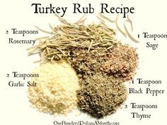 Easy Kitchen Tips - Turkey Rub Recipe - One Hundred Dollars a Month #kitchentips