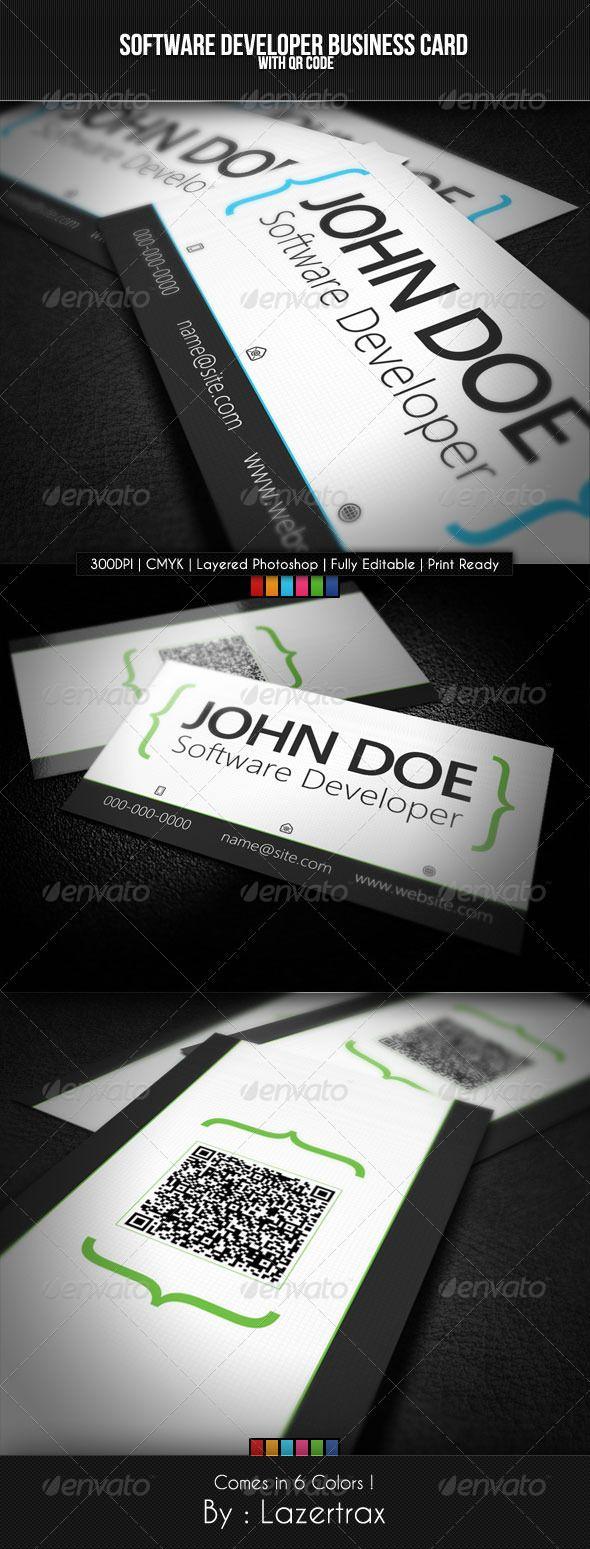 Software Developer Business Card Business Card Photoshop Colorful Business Card Business Card Template Psd