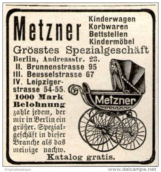 Original-Werbung/Inserat/ Anzeige 1905 - METZNER KINDERWAGEN ca. 45 x 50 mm