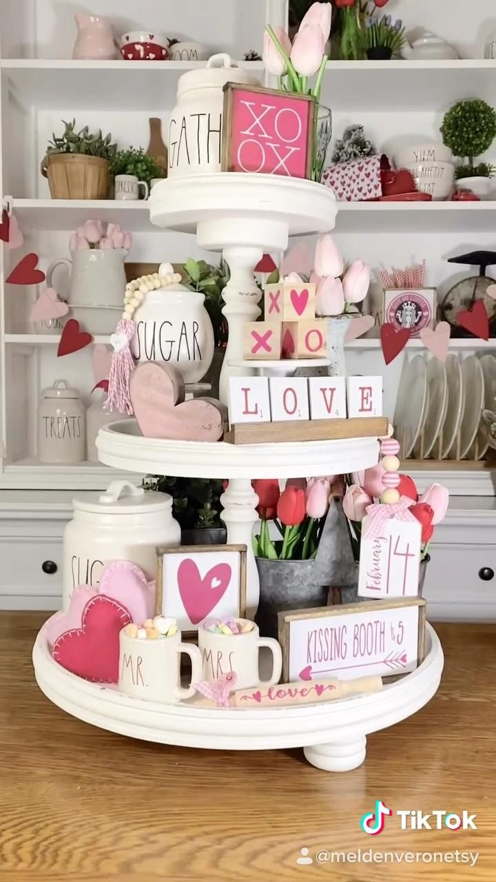 Pink & White Valentines Day tiered tray decor
