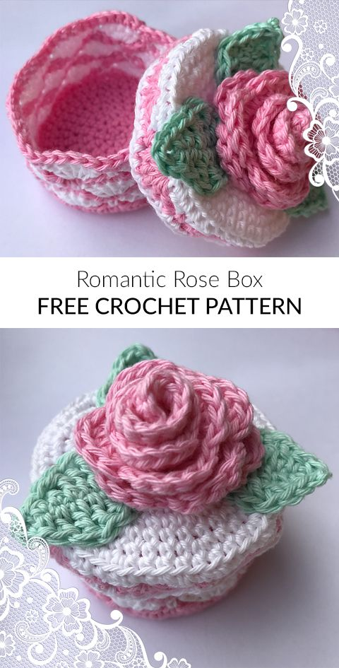 Romantic Rose Box Free Crochet Pattern Haken Pinterest