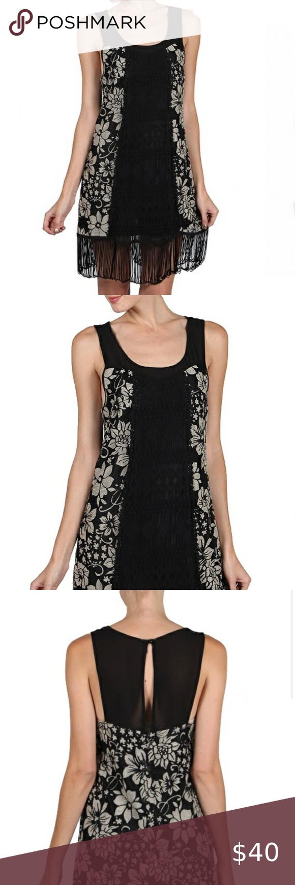 Sale A Reve Black Cream Dress W Fringe Hem Clothes Design Fashion Cream Dress [ 1740 x 580 Pixel ]
