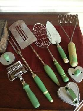 Antique Green Wood Handle Kitchen Cooking Utensils Lot Of 9 The