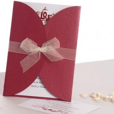 faire part mariage pochette rouge ruban en papillon votre joyeuxmariage faire part prefere. Black Bedroom Furniture Sets. Home Design Ideas