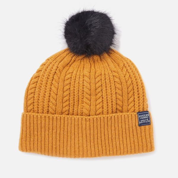 07e50574143a0 Women s knitted bobble hat from Joules. The cable knit beanie has been  crafted from a