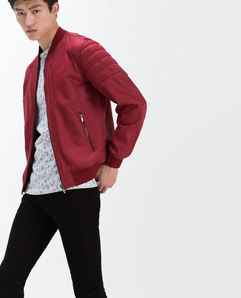 Zara man new ss red resin jacket ref sizes l xl