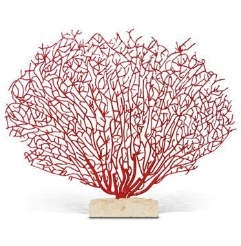 Scarlet Grand Fan Coral Sculpture with Limestone Base. #kathykuohome #decor #CoastalBeach