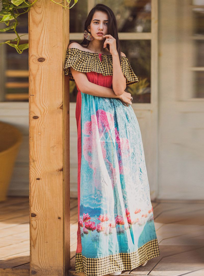 Buy pink cotton readymade gown online at lowest price from