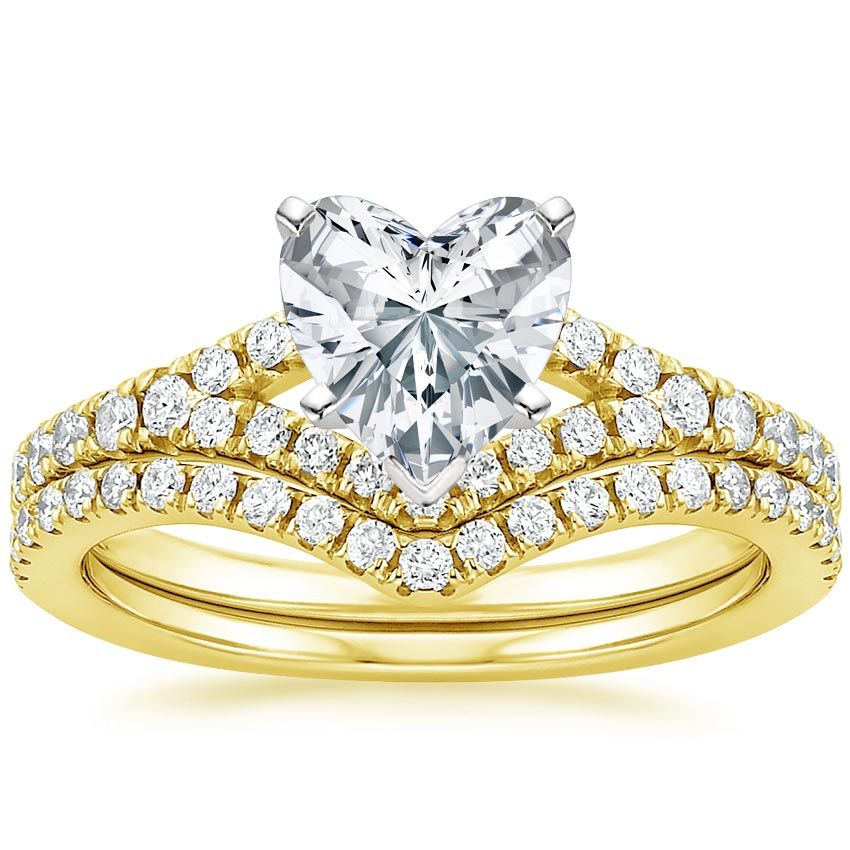 Heart Cut Flair Diamond Wedding Ring Set - 18K Yellow Gold