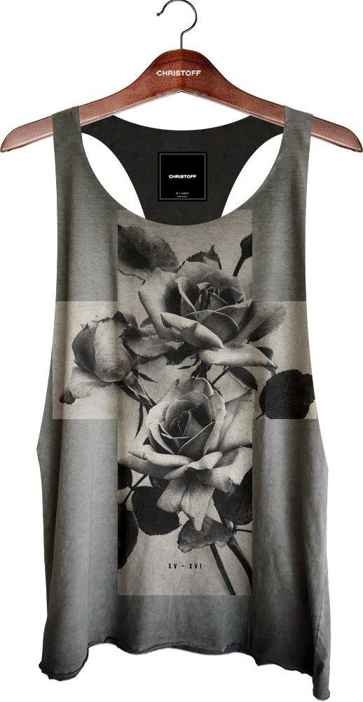 Regata Cavada - Cross Roses Preta 100% algodão. Corte diferenciado a fio na  gola 9dcd98b153a