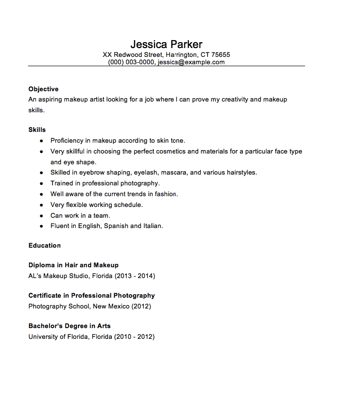 Beginner MakeUp Artist 2016 Resume Sample