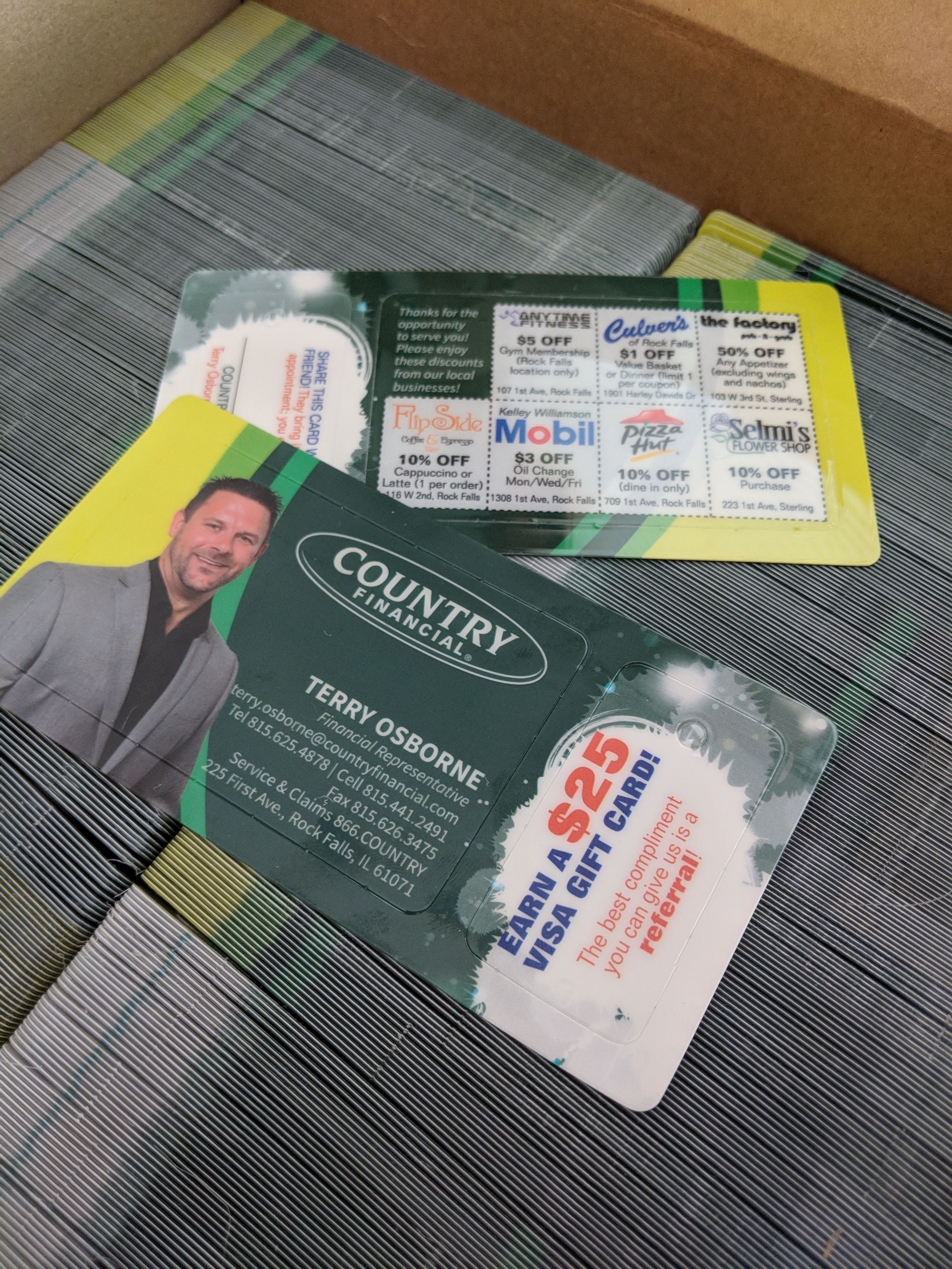 Business cardvalue cardreferral tag for country agent