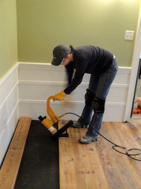 Installing the Antique Heart Pine Flooring - Pretty Handy Girl