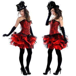 womens ladies Burlesque Ruffle Black//Red Vampire TuTu Skirt /& shirt fancy dress