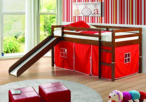 Donco Kids Low Loft Bed With Slide With Tent Twin Light Espresso