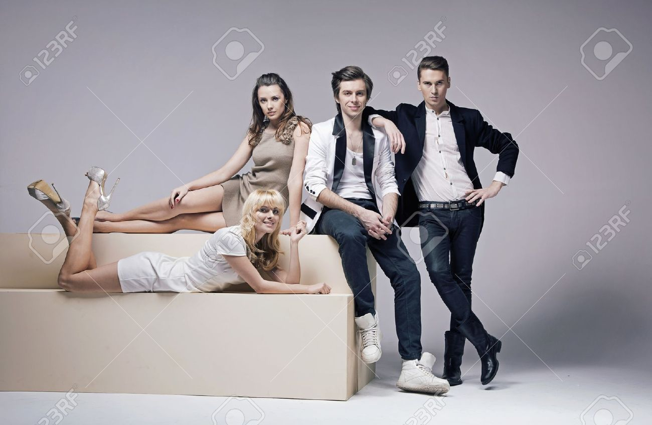 18497457 Portrait of four very attractive young friends Stock Photo     18497457 Portrait of four very attractive young friends