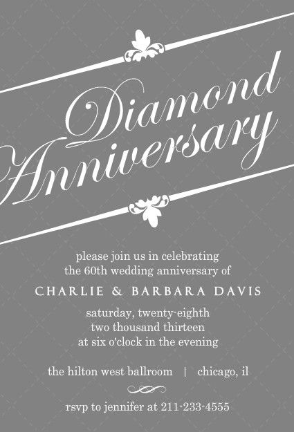 Elegant gray diamond 60th anniversary invitation 60th wedding elegant gray diamond 60th anniversary invitation stopboris Images