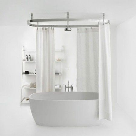 Modern Chrome Shower Curtain Rod Around Modern White Round Bath