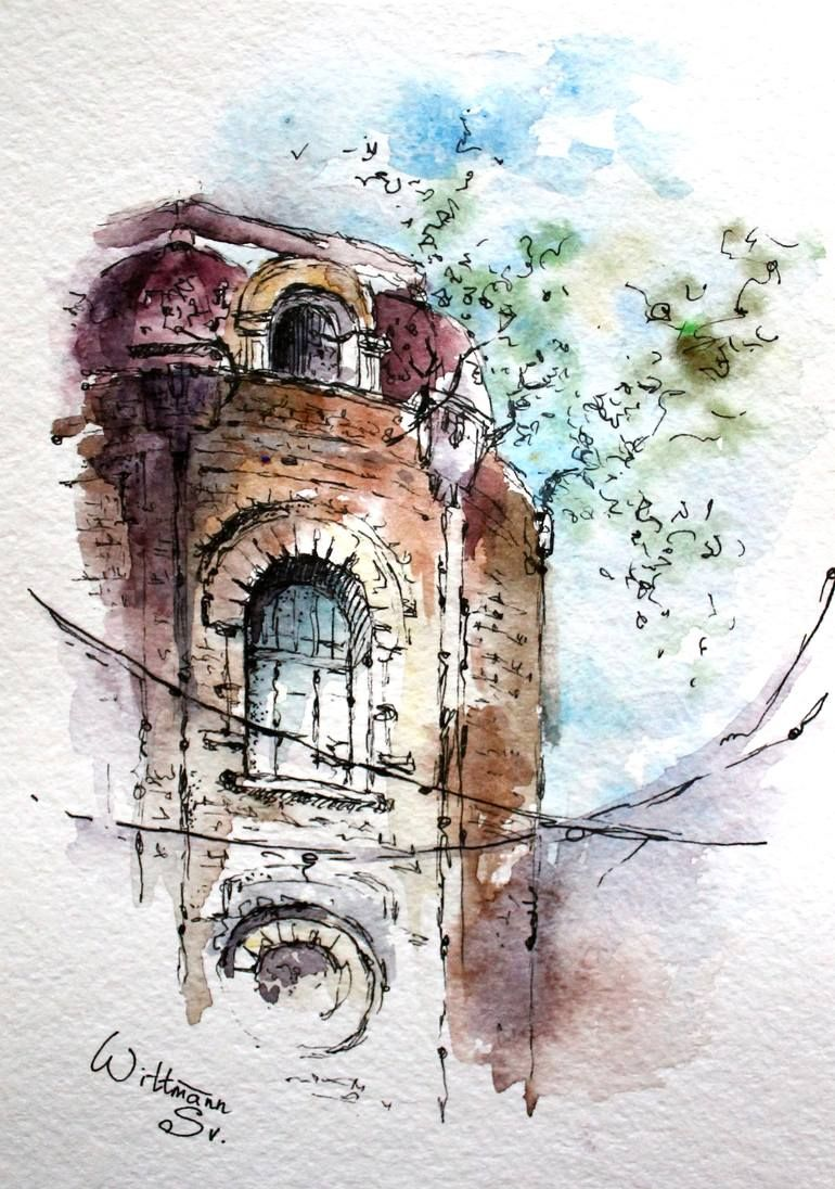 Original Architecture Painting By Svetlana Wittmann