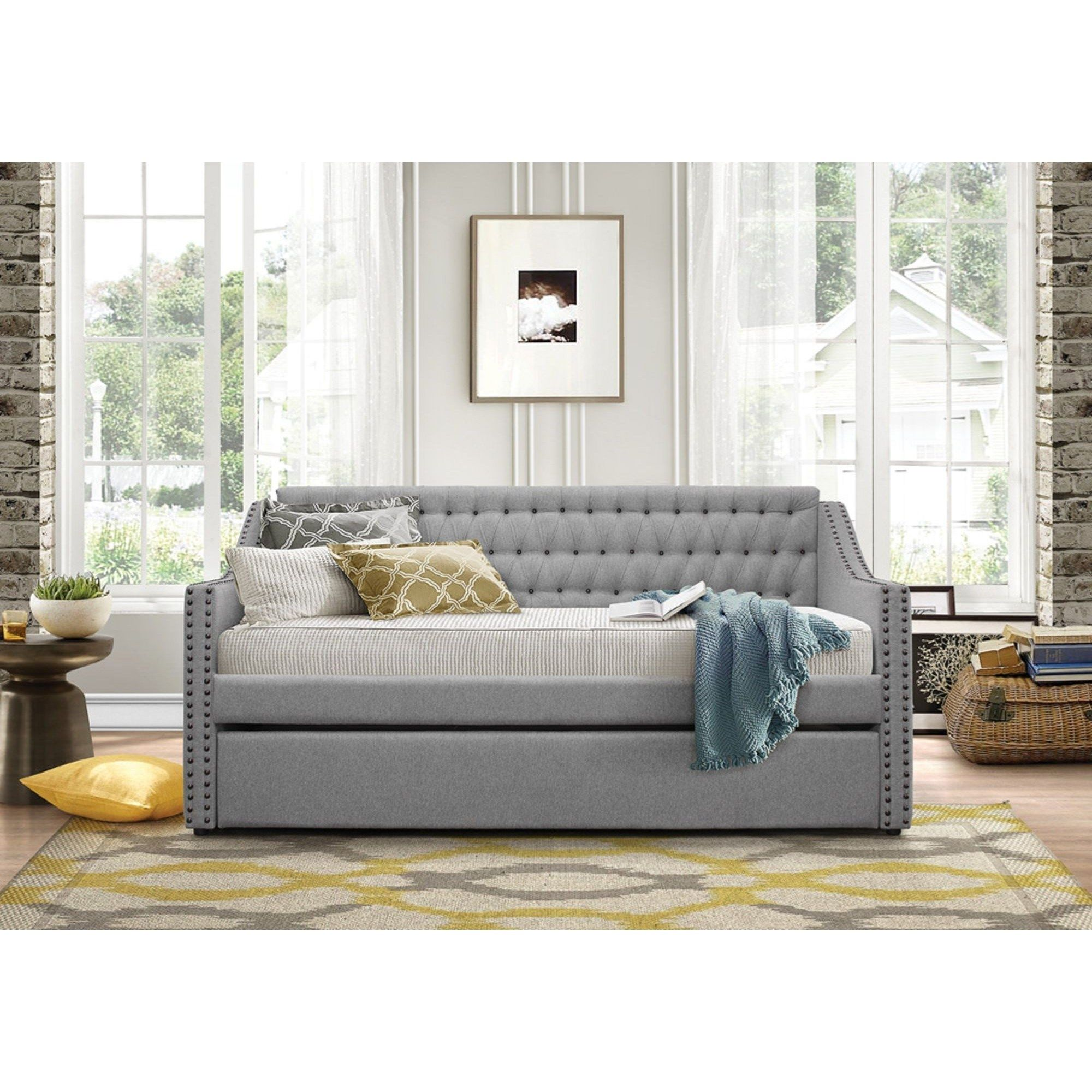 Daybeds Tulney Upholstered Daybed W Trundle By Homelegance At