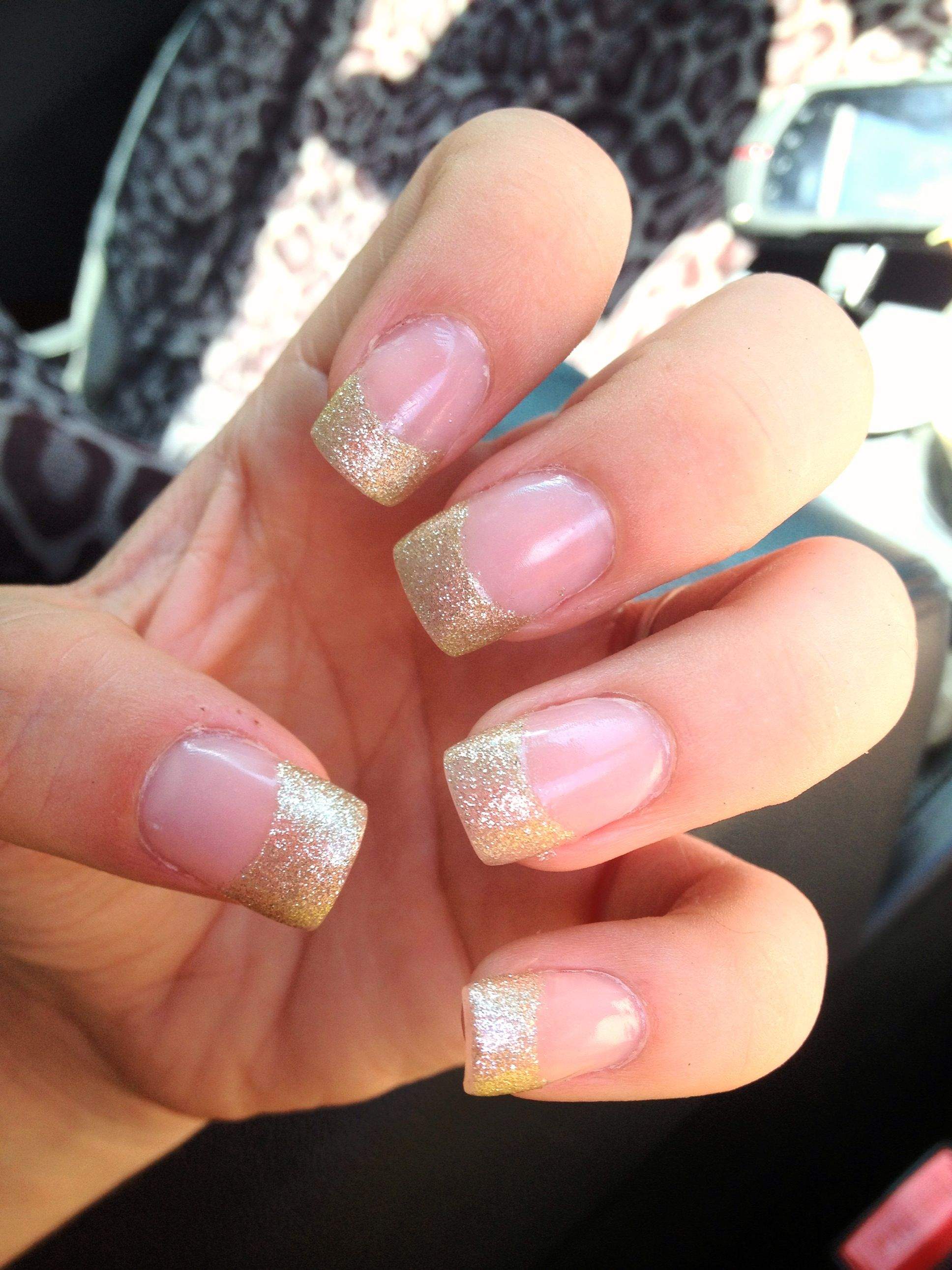 light gold glitter nail tip design. Acrylic nail tip design. I love ...