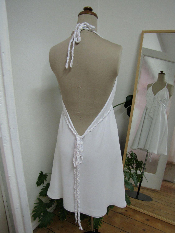 Macherecouture whimsical white wedding dress halter neck low back
