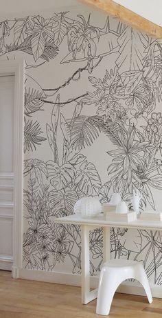 ohmywall papier peint jungle tropical en noir et blanc. Black Bedroom Furniture Sets. Home Design Ideas