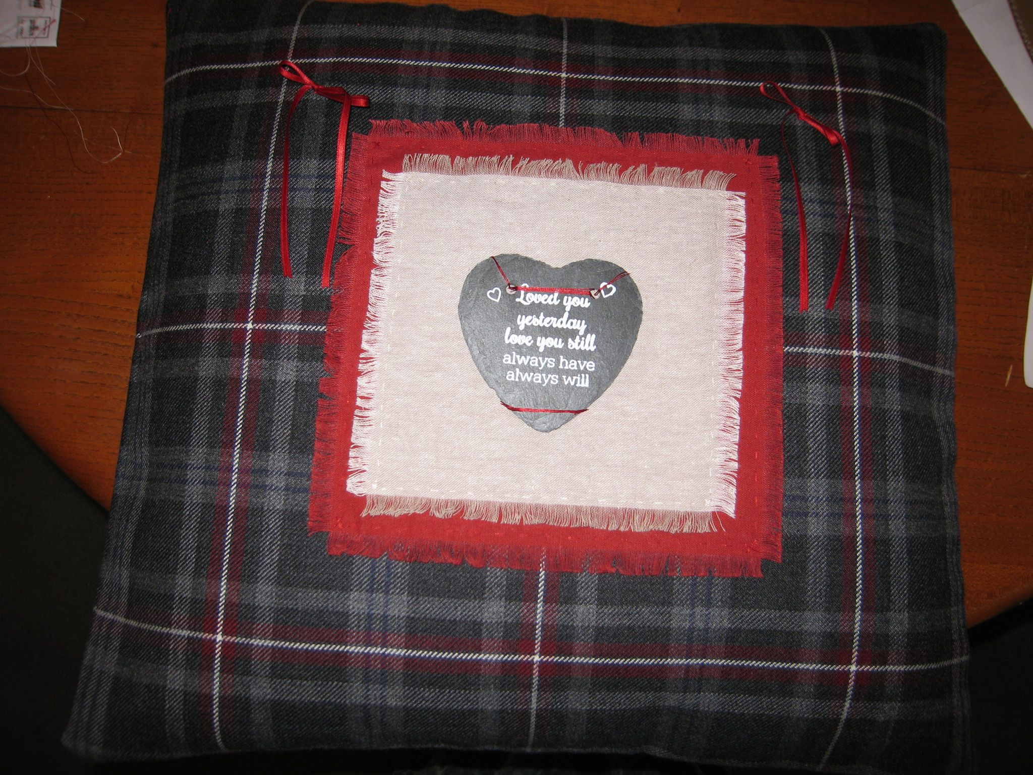 Wedding ring cushion made for friends with hebridean heather tartan