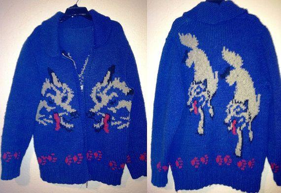 Large Shawl Collar Cawichan Ski Sweater Talon Zip Blue