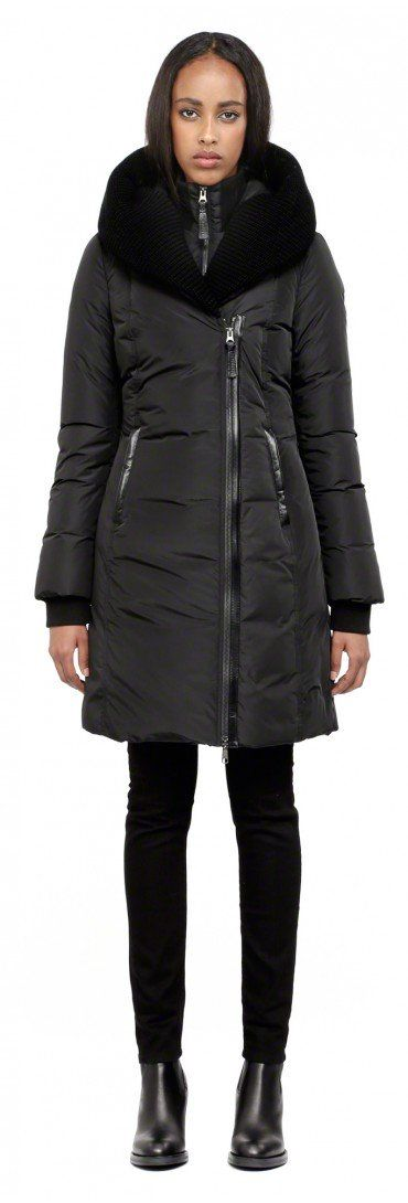 Mackage - BRIGID-F4 BLACK LONG WINTER DOWN JACKET FOR WOMEN WITH KNIT TRIM ON HOOD