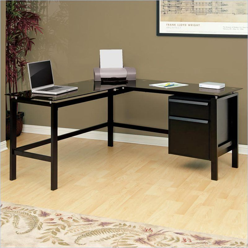 Studio Rta Glass Top L Shaped Desk In Black 410866 Glass