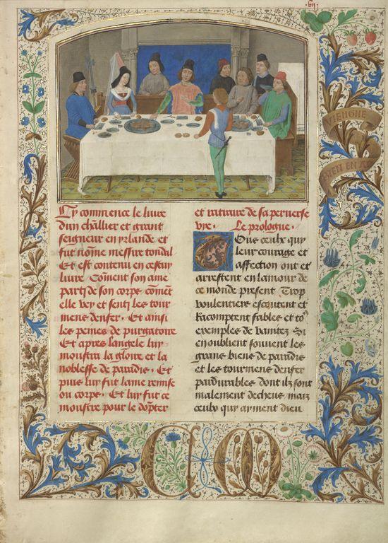 Tondal Suffers a Seizure at Dinner; Simon Marmion (Flemish, active 1450 - 1489); Ghent, Belgium; 1475; Tempera colors, gold leaf, gold paint, and ink on parchment; Ms. 30, fol. 7