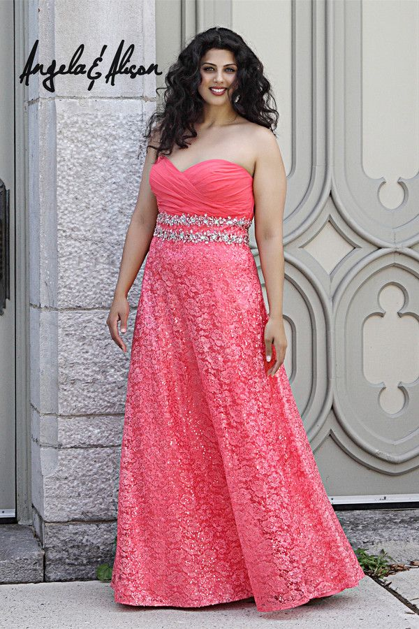 coral plus sized 2014 prom dress from AE dresses | peinados ...