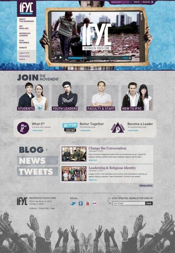 Unique Web Design Interfaith Youth Core Webdesign Design Http Www Pinterest Com Aldencho Web Design Inspiration Web Design Gallery Web Development Design