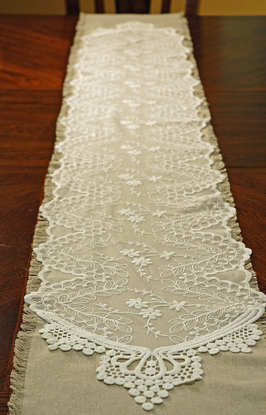 Lacey Table Runner Over A Plain Linen Runner For The Base Of A Vintage  Eclectic Tablescape