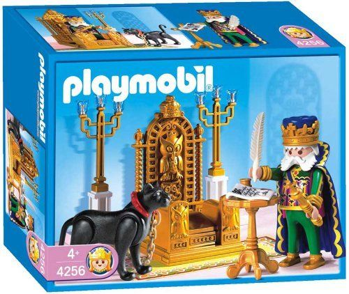 Playmobil King withThrone by Playmobil. $22.99. 7.9 x 5.9 x 3 inches. The wise king rules his large magic kingdom from his beautifully decorated throne. With his pet by his side, a dangerous-looking black panther, he gives many important audiences. When time permits it he exchanges letters with the regents of the neighbouring kingdoms. He has just written the invitation for the next ball. Now he just has to sign it before the messenger takes the letters to their re...