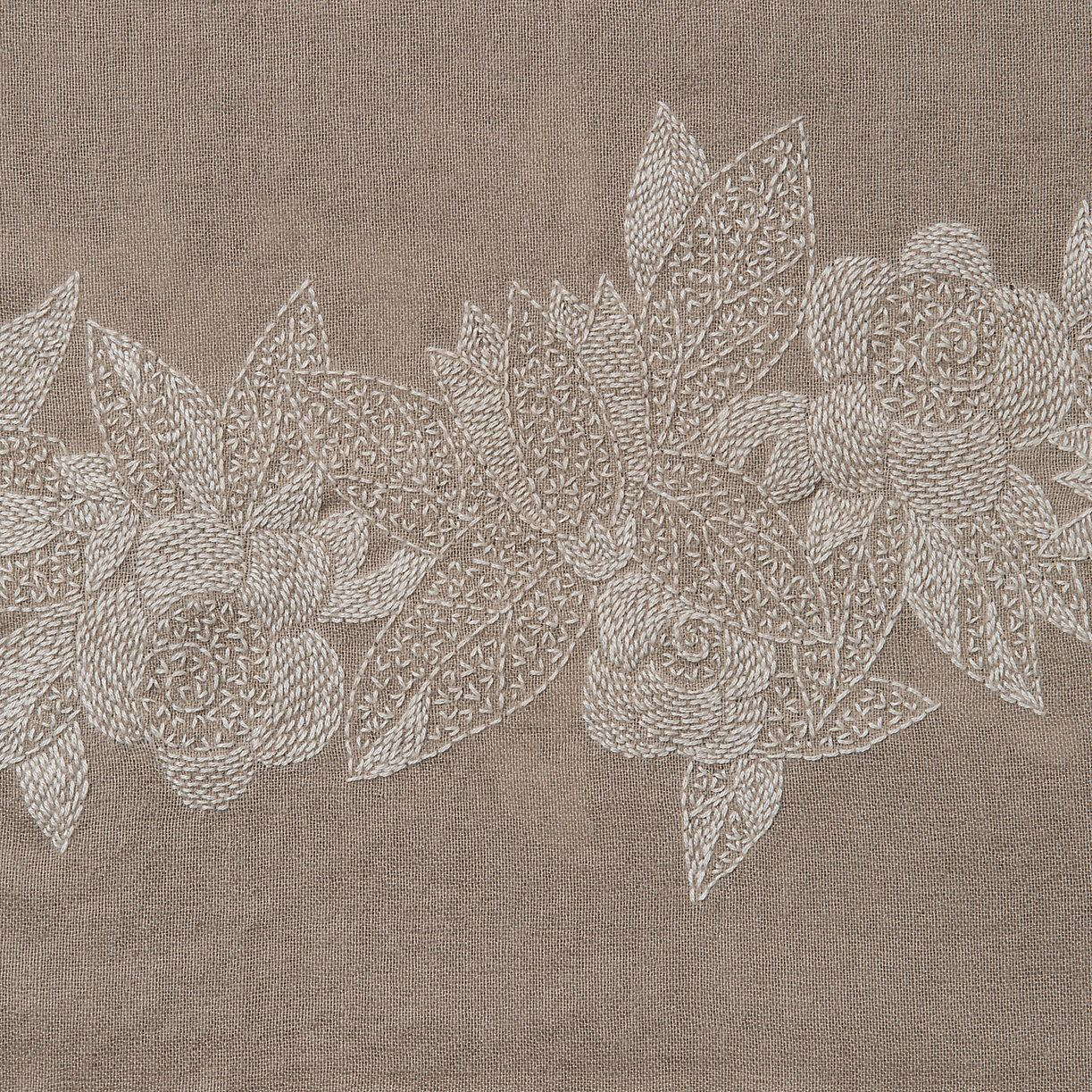 hand stitched embroidery on hand spun cashmere