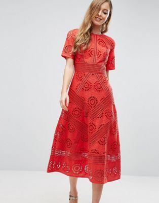 09d08923b14 ASOS PREMIUM Midi Dress in Broderie Fabric