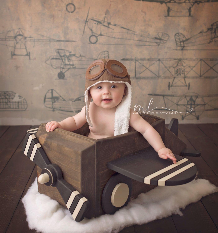 wooden airplane photography prop  Детская фотография