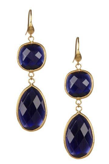 18K Gold Clad Navy Cat's Eye Crystal Double Dangle Earrings by Rivka Friedman on @HauteLook