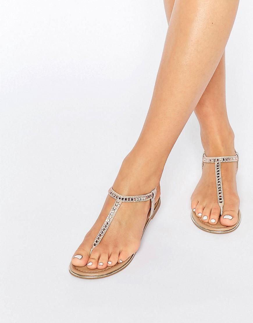 Call it Spring | Call It Spring Legoiwien Embellished T-Strap Flat Sandals at ASOS